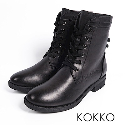 KOKKO - 騎士風牛皮綁帶馬丁短靴 - 巧克力黑