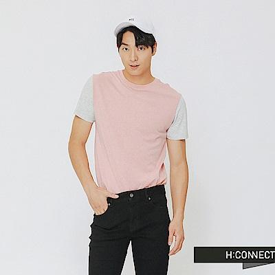 H:CONNECT 韓國品牌 男裝-後標語拼接上衣-粉