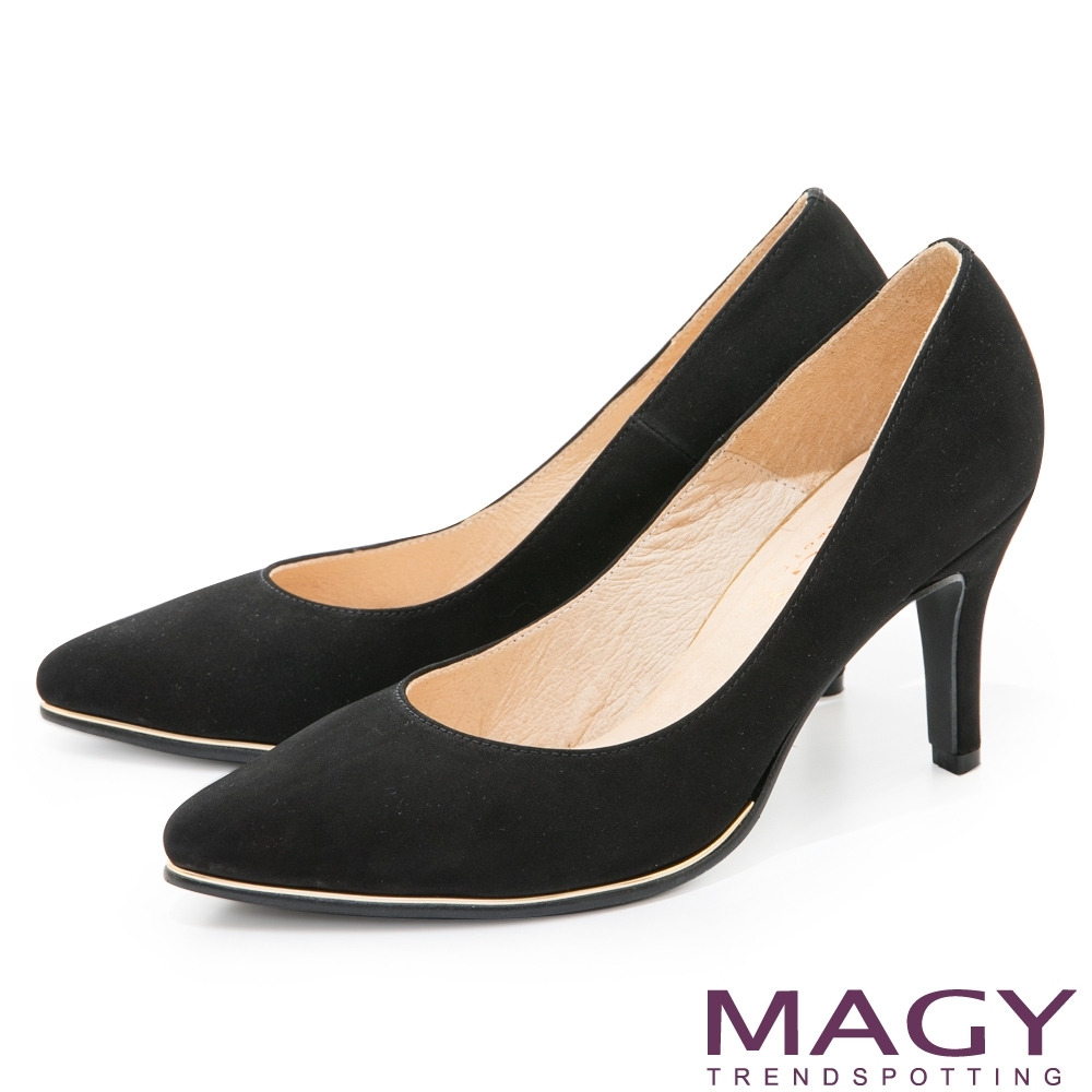 MAGY 金屬條飾真皮尖頭 女 高跟鞋 絨黑