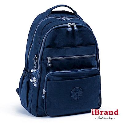 iBrand後背包 經典百搭超輕盈多口袋後背包-深海藍