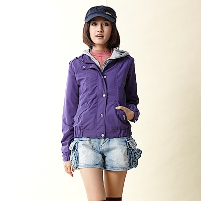 【TOP GIRL】連帽假兩件風衣外套-紫
