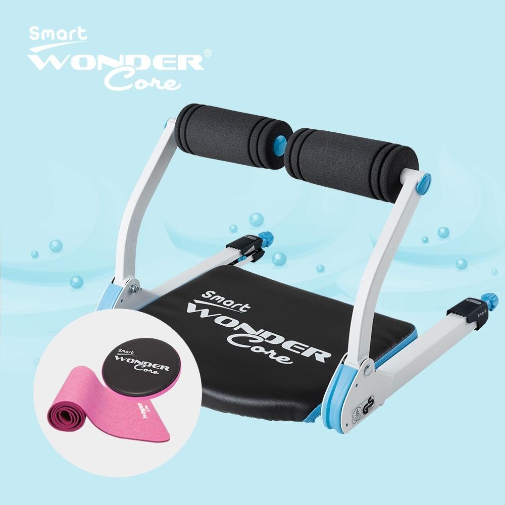 Wonder Core Smart全能輕巧健身機「糖霜藍」三件組(含運動墊-粉+扭腰盤-粉)