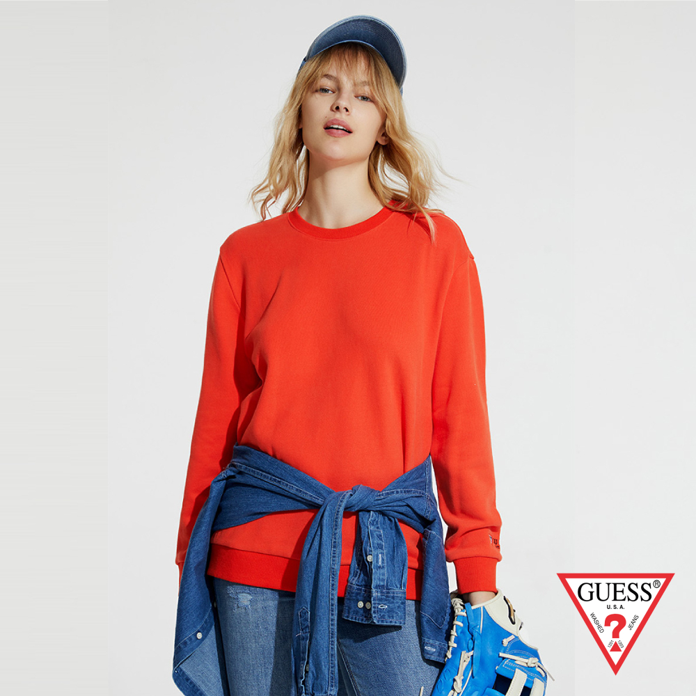 GUESS-女裝-簡約素色長袖上衣-橘 原價2990