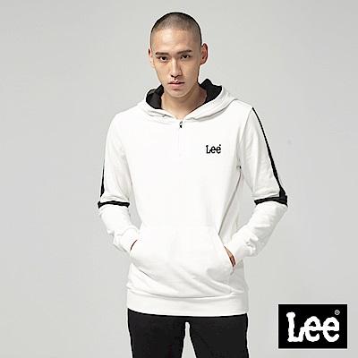 Lee 小LOGO拼接長袖連帽厚TEE/RG-標準版-白