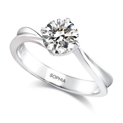 蘇菲亞SOPHIA -對角四爪0.30克拉FVVS1鑽石套戒