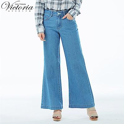 Victoria 中高腰天絲棉星鑽寬褲-女-淺藍