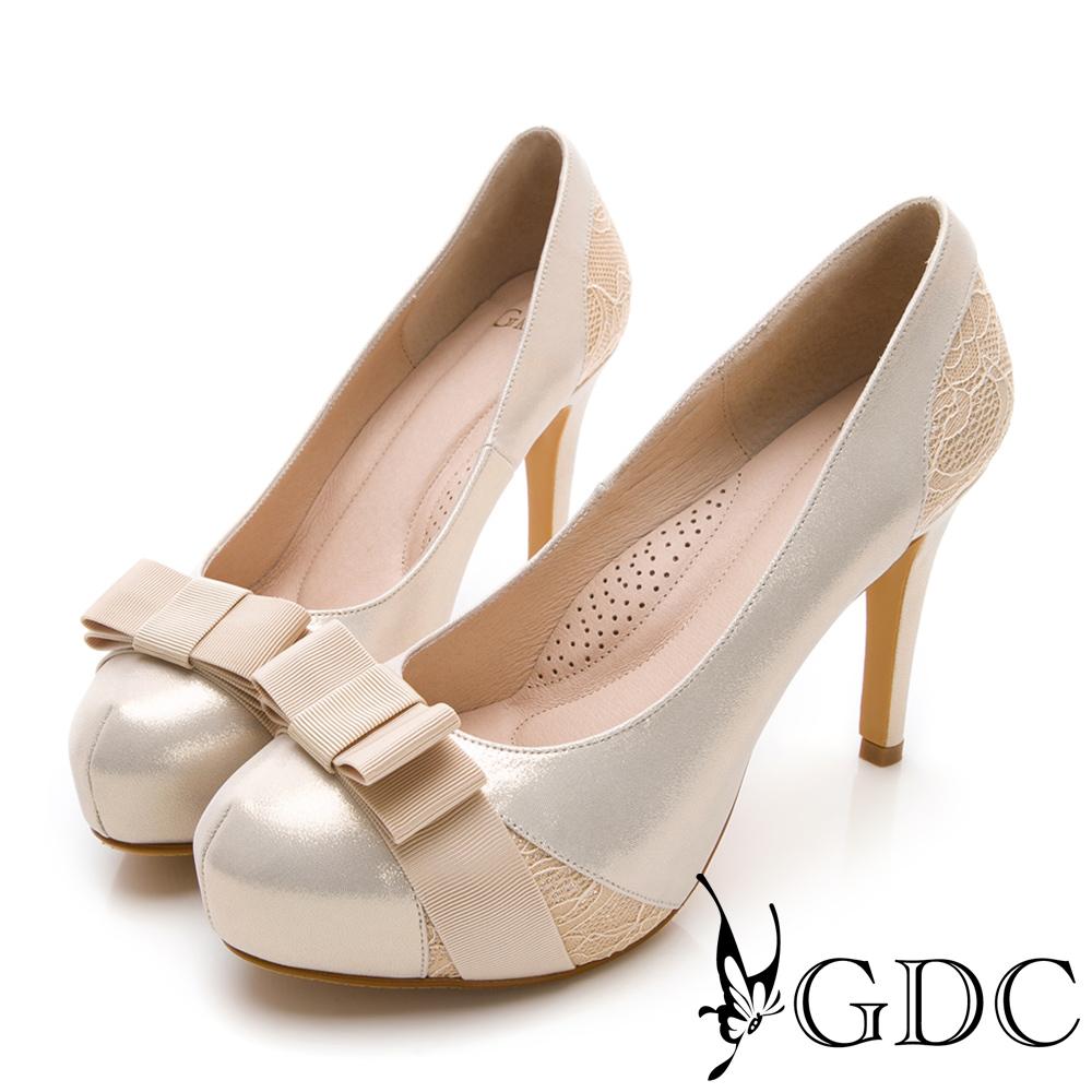 GDC-羊皮蝴蝶結氣質甜美混蕾絲高跟鞋-金色