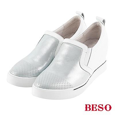 BESO 光澤耀眼 拼接內增高休閒鞋~銀