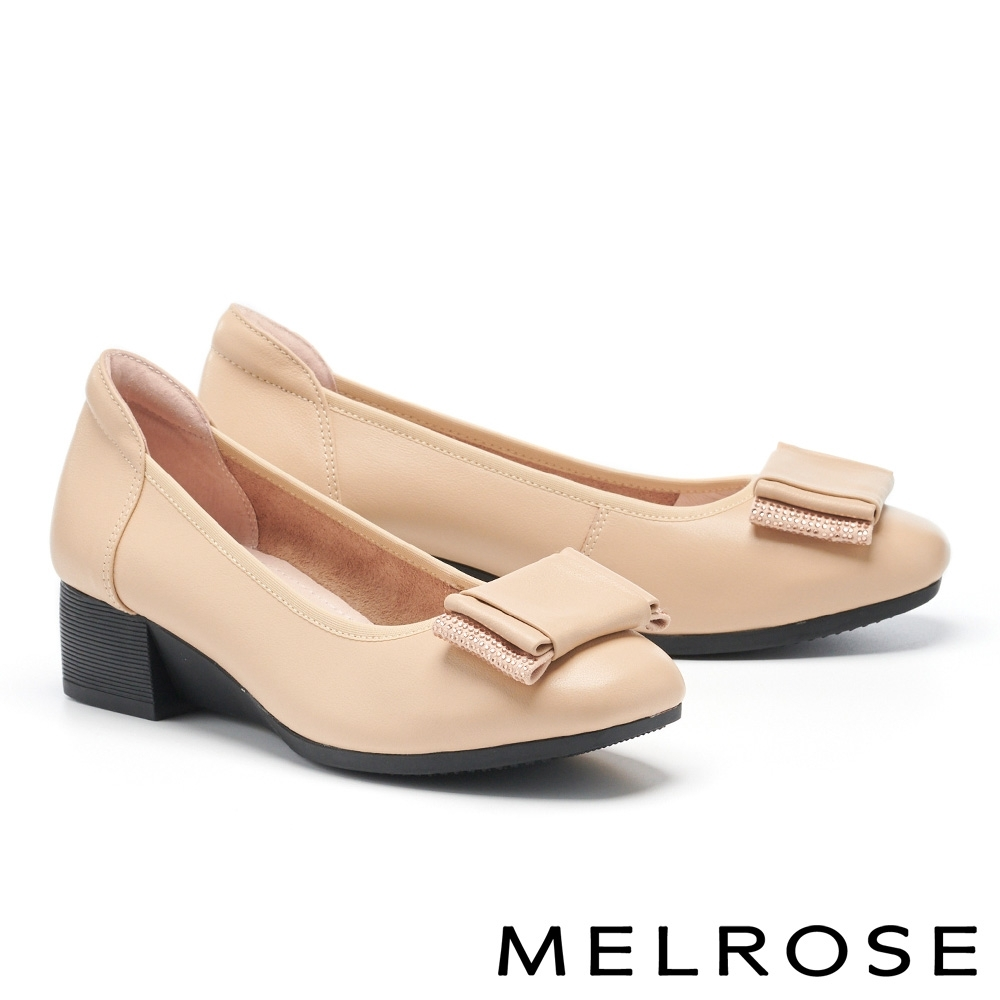 低跟鞋 MELROSE 知性質感鑽飾蝴蝶結全真皮低跟鞋-米