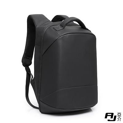 AJ.亞介 極簡風大容量防盜商務電腦包後背包 黑色