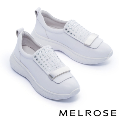休閒鞋 MELROSE 舒適百搭晶鑽金屬釦全真皮厚底休閒鞋-白