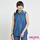 SOMETHING 花卉刺繡 無袖牛仔襯衫-女-中古藍
