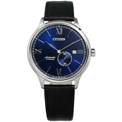 CITIZEN 星辰表 自動上鍊機械錶鈦金屬壓紋牛皮手錶-藍x黑/42mm