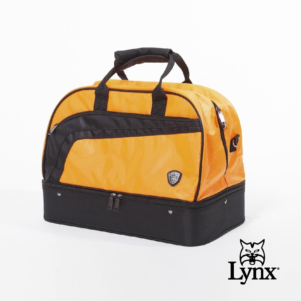 【Lynx Golf】男女Lynx流線線條設計山貓貼標硬底式旅行外袋/運動衣物袋-橘色