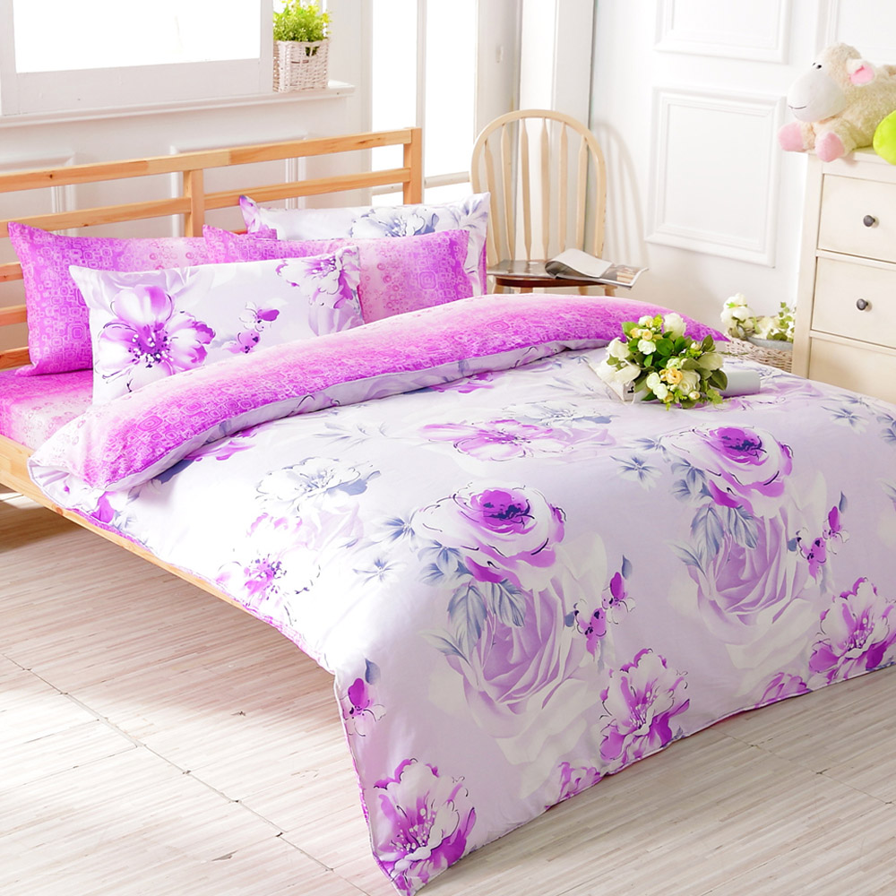 FOCA醉戀花憶-加大-100%精梳純棉四件式兩用被床包組