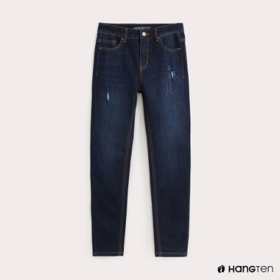 Hang Ten-女裝-SUPPER SKINNY FIT激瘦九分牛仔褲-深藍