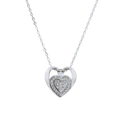 Prisme 美國時尚飾品 璀璨鑲鋯多層次心形純銀項鍊