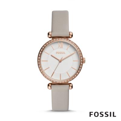 FOSSIL TILLIE 優雅鑲鑽皮革女錶-灰色 36MM BQ3500