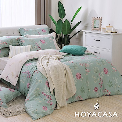 HOYACASA琉璃芬芳 雙人四件式抗菌天絲兩用被床包組