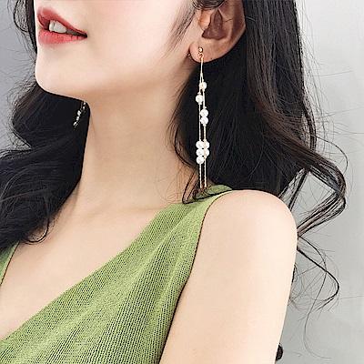 梨花HANA   韓國華麗邂逅流蘇珍珠瀑布耳環金色