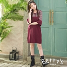 betty's貝蒂思 公主袖假兩件針織洋裝(紅色)