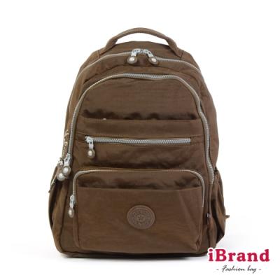 iBrand後背包 經典百搭超輕盈多口袋後背包-深咖啡