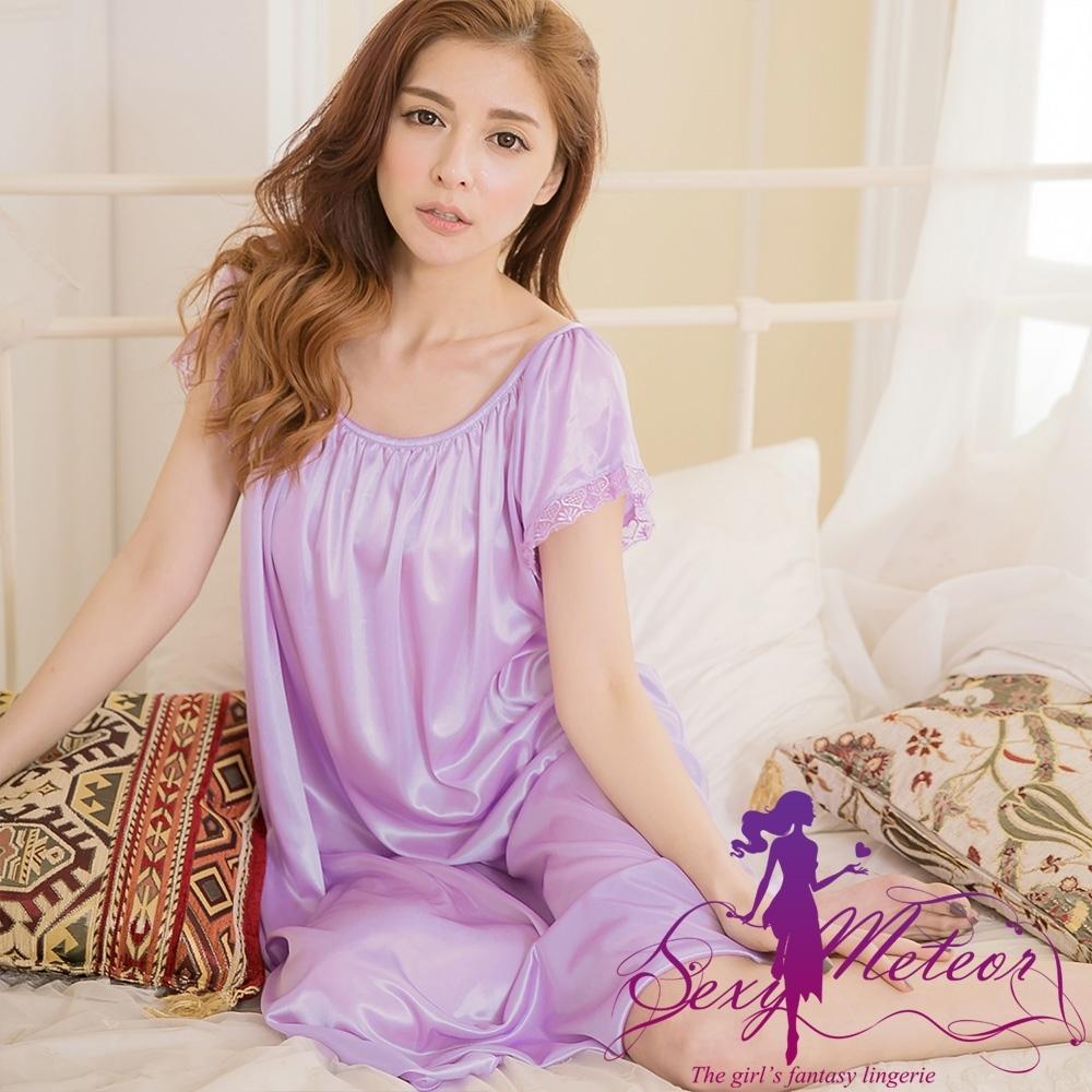 睡衣 大尺碼 抓褶素色冰絲短袖蕾絲花邊連身裙睡衣(高貴淺紫) Sexy Meteor