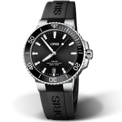 Oris豪利時Aquis時間之海300米潛水錶-39.5mm/黑x橡膠