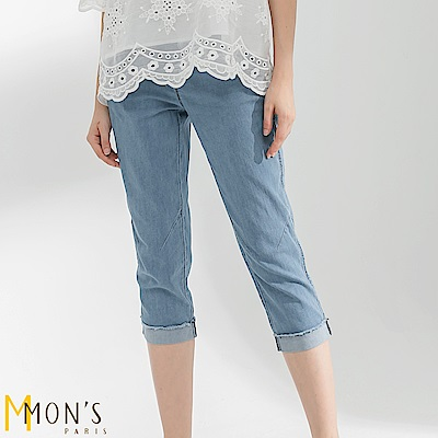 MONS  反摺七分修飾牛仔褲