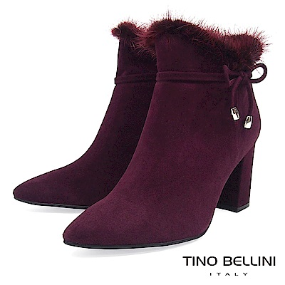 Tino Bellini性感婀娜毛海全真皮高跟尖楦短靴_酒紅