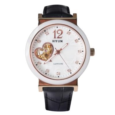 HYUN炫 心型鏤空珍珠母貝皮革錶