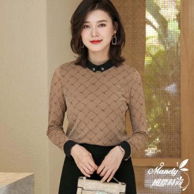 Mandy國際時尚 長袖上衣 秋 立領格子網紗袖透膚OL襯衫(2色)