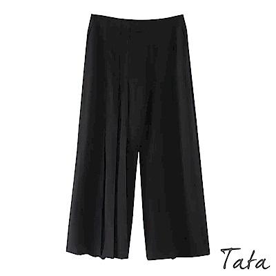 不對稱抓褶拉鍊寬褲 TATA