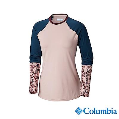 Columbia 哥倫比亞 女款-UPF50快排彈性長袖上衣-粉紅 UAK26170
