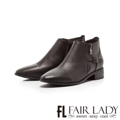 Fair Lady拉鍊造型釦帶尖頭低跟短靴 黑