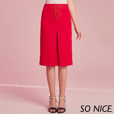 SO NICE都會綁帶直筒窄裙