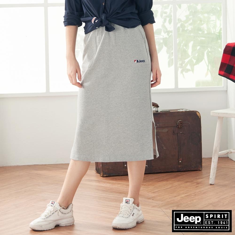 Jeep 女裝 鬆緊抽繩側開岔長裙-灰色