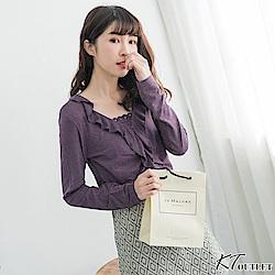 KT 垂墜領巾柔軟T-紫