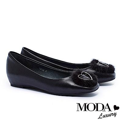 跟鞋 MODA Luxury 與眾不同貂毛愛心全真皮方頭內增高低跟鞋-黑