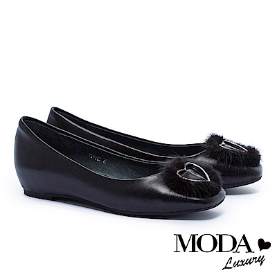 跟鞋 MODA Luxury 與眾不同貂毛愛心全真皮方頭內增高低跟鞋-綠