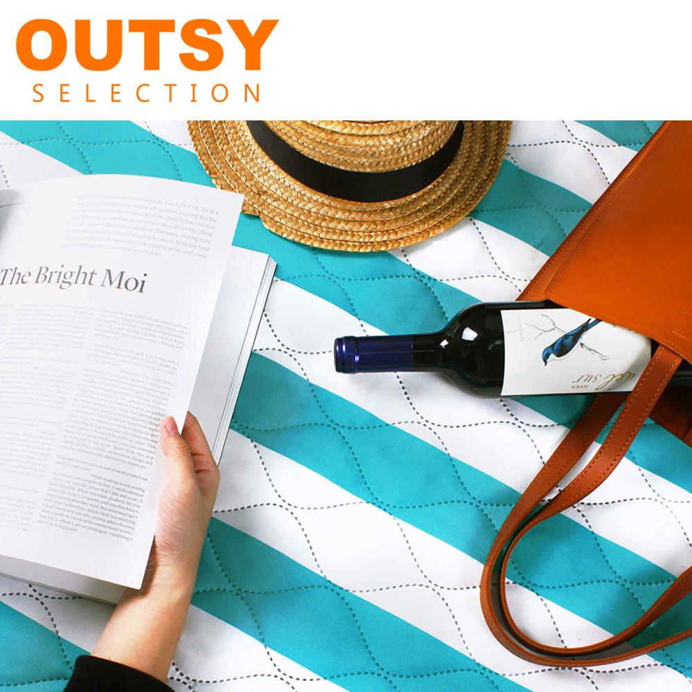 【OUTSY嚴選】特厚鋪棉防水野餐墊/帳篷地墊135X180 -藍柑薄荷