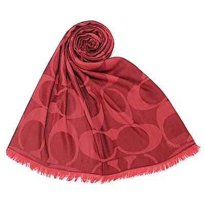 COACH 經典滿版LOGO羊毛混絲大披肩圍巾-紅色