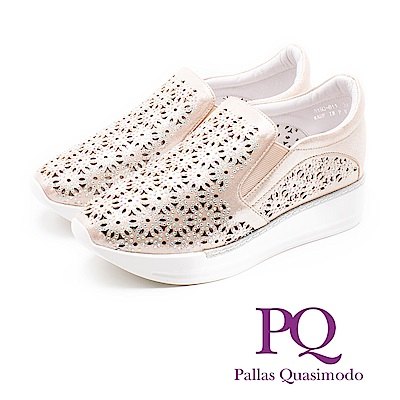 PQ 華麗閃耀 鏤空雕花真皮厚底增高鞋 女鞋 - 玫瑰金(另有黑)