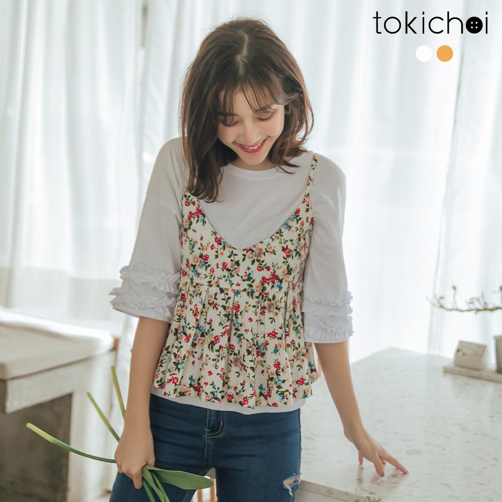 東京著衣-活力青春落肩荷葉裝飾袖棉質上衣-S.M.L(共兩色)