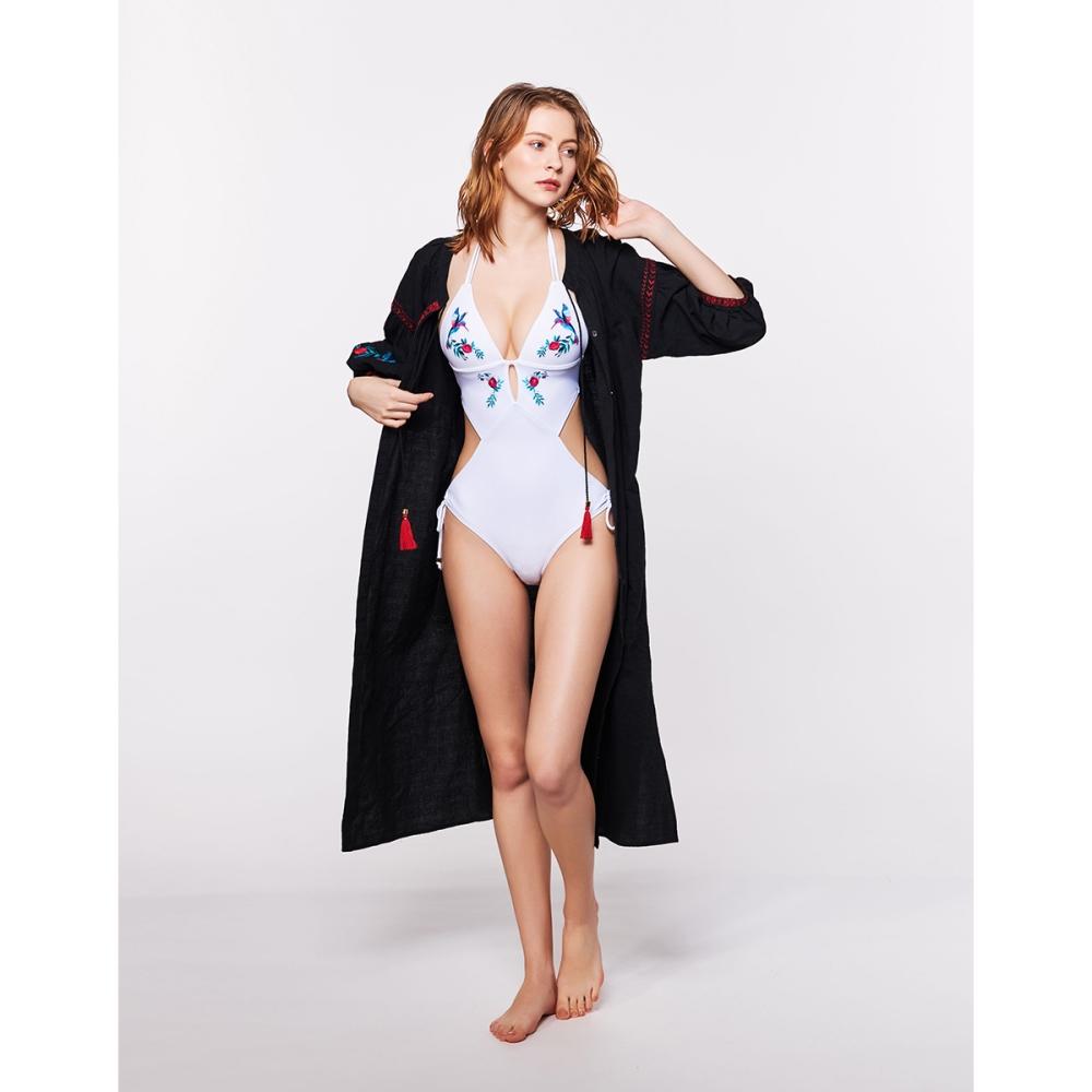 WAVE SHINE-質感藍雀繡花款罩衫(兩色)-女【TWS092】