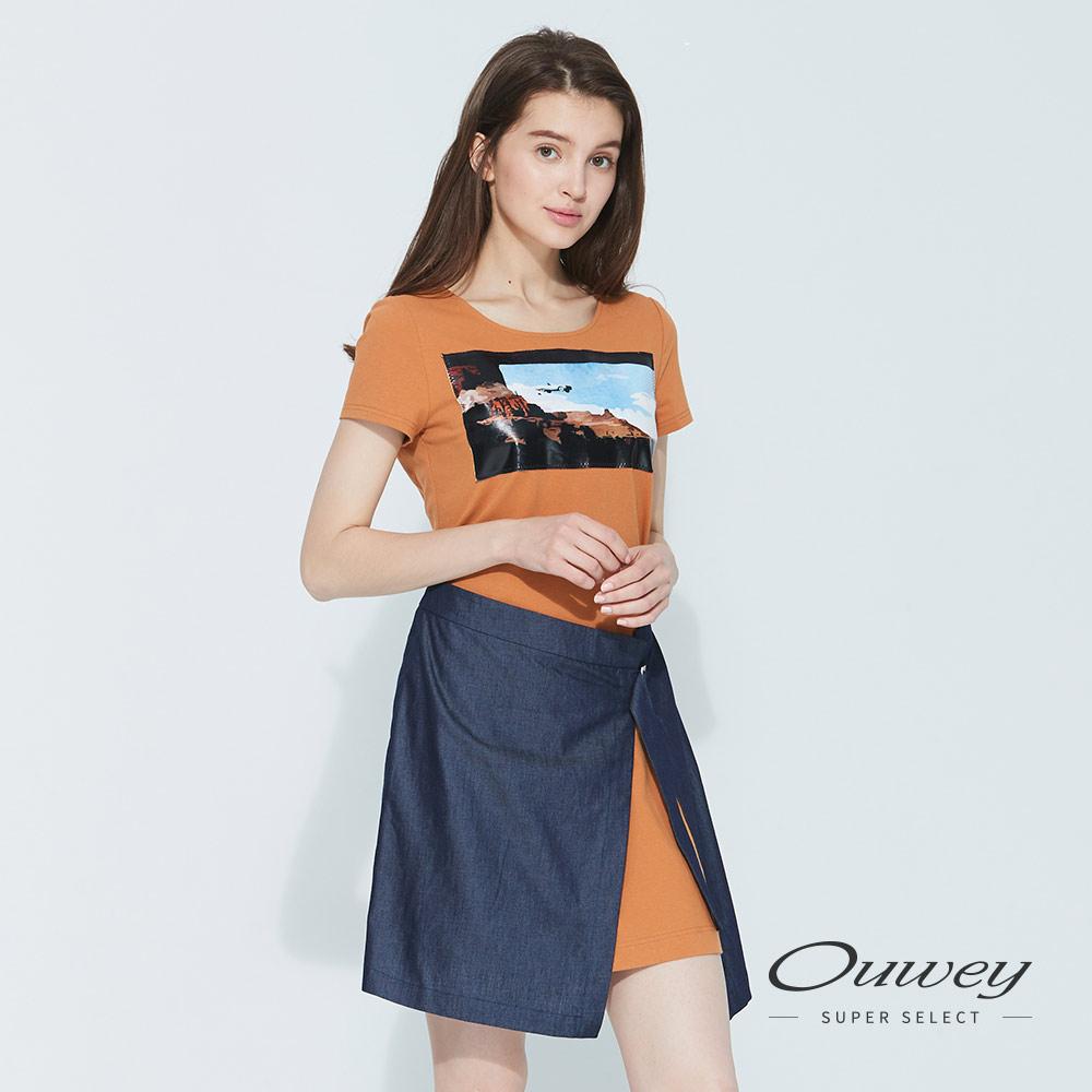 OUWEY歐薇 數位印花涼感假兩件造型洋裝(磚)