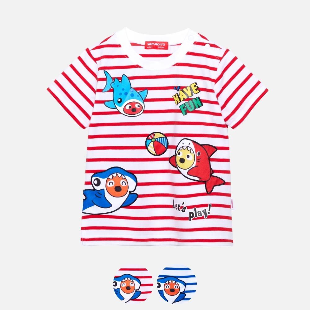 WHY AND 1/2 mini 條紋棉質萊卡T恤 多色可選 1Y ~ 4Y (紅色)