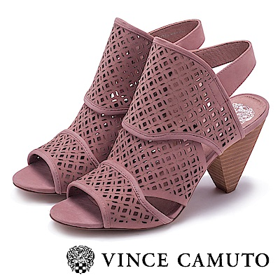 VINCE CAMUTO 典雅簍空花紋梯型高跟鞋-粉色