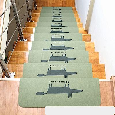 半島良品 可重覆黏貼樓梯止滑墊5入-狐狸 綠色