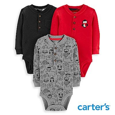 Carter's 聖誕企鵝包屁衣三件組